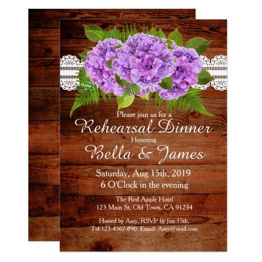 Rustic Lace Purple Hydrangea Rehearsal Invitations