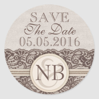 Rustic lace Save The Date stickers Burlap monogram