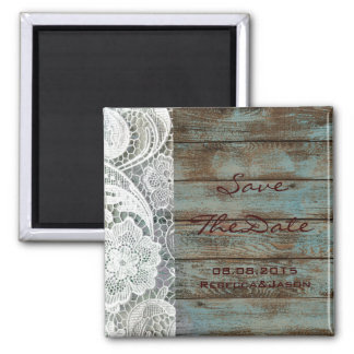 rustic lace teal barn wood wedding save the date square magnet