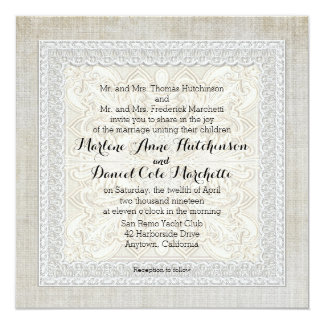 Rustic Lace w Aged Vintage Linen Country Elegance Card