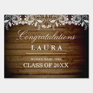 Rustic Lace Wood Grad Graduation Party Yard Sign