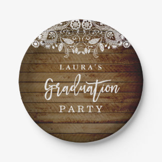 Rustic Lace Wood Graduation Party Paper Plate