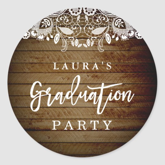 Rustic Lace Wood Graduation Party Sticker