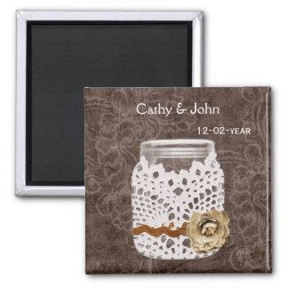 Rustic Lace Wrapped Mason Jar Wedding Square Magnet