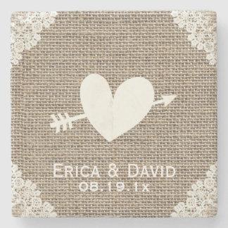 Rustic Laced Burlap Heart & Arrow Wedding Stone Beverage Coaster