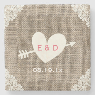 Rustic Laced Burlap Heart & Arrow Wedding Stone Coaster