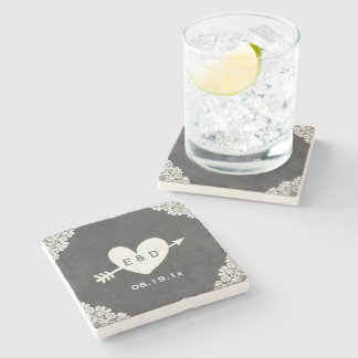 Rustic Laced Heart & Arrow Chalkboard Wedding Stone Beverage Coaster