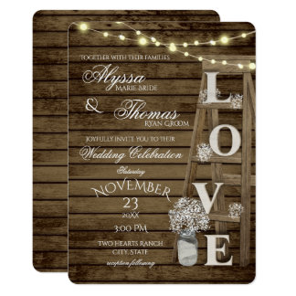 Rustic Ladder and Lights Love Wedding Card