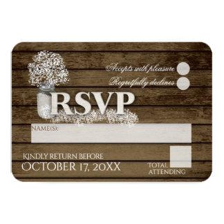 Rustic Ladder Love Baby's Breath RSVP Wedding Card