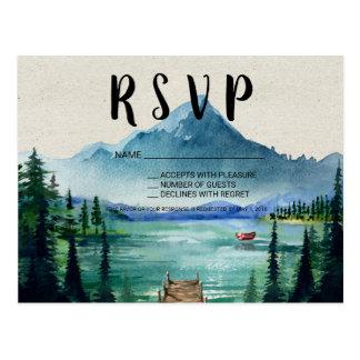 Rustic Lakeside Wedding RSVP Postcard