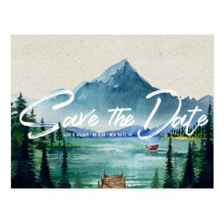 Rustic Lakeside Wedding | Save the Date Postcard