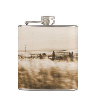 Rustic landscape from a car hip flask