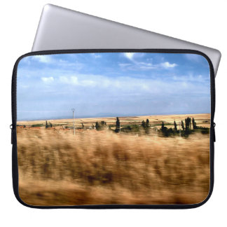 Rustic landscape from a car laptop sleeve