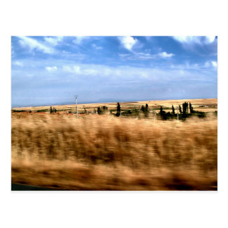 Rustic landscape from a car postcard