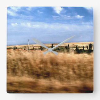 Rustic landscape from a car square wall clock