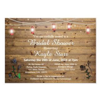 Rustic Lantern Lights Bridal Shower Invitation