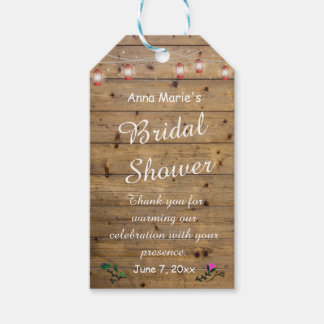 Rustic Lantern Lights Bridal Shower Thank You Tag