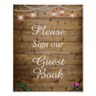 Rustic Lantern Lights Sign Our Guest Book Poster