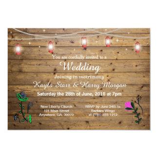 Rustic Lantern Lights Wedding Invitation