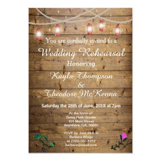 rustic lantern lights wedding rehearsal card - Redneck Wedding Invitations