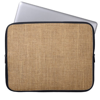 Rustic Laptop Sleeve with print of brown canvas