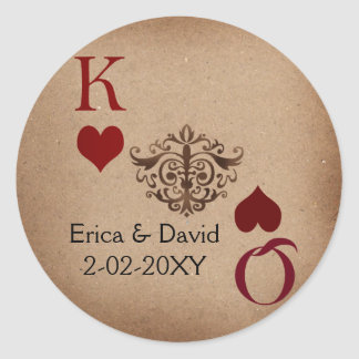 Rustic Las Vegas Wedding Cards Classic Round Sticker