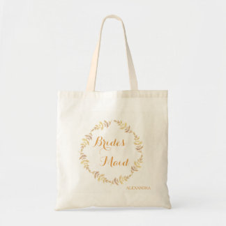 Rustic laurel leaves wreath wedding bridesmaid tote bag