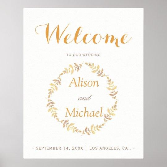 Rustic laurel leaves wreath wedding welcome sign