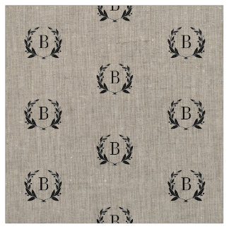 Rustic Laurel Wreath Monogram Fabric