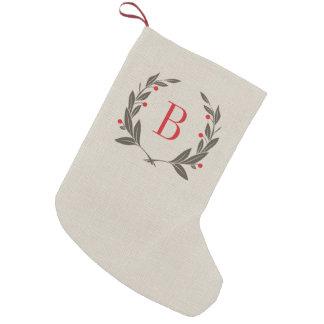 Rustic Laurel Wreath Monogram Small Christmas Stocking
