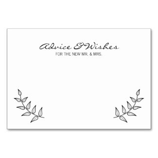 Rustic Laurels Wedding Advice and Wishes Card