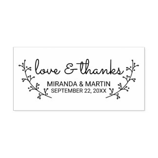 Rustic Laurels Wedding Favor Rubber Stamp