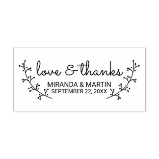 Rustic Laurels Wedding Favor Self-inking Stamp