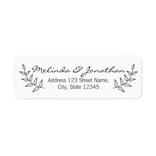 Rustic Laurels Wedding Return Address Label