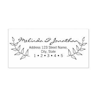 Rustic Laurels Wedding Rubber Stamp