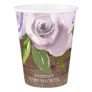 Rustic Lavender Flowers Bridal Shower Paper Cup