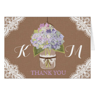 Rustic Lavender Hydrangeas Lace Thank You Card