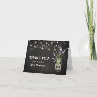 Rustic Lavender Lights Bridal Shower Thank You