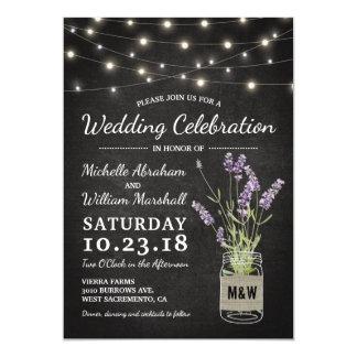 Rustic Lavender Mason Jar Lights Wedding Card