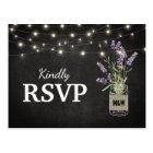Rustic Lavender Mason Jar Lights Wedding RSVP Postcard