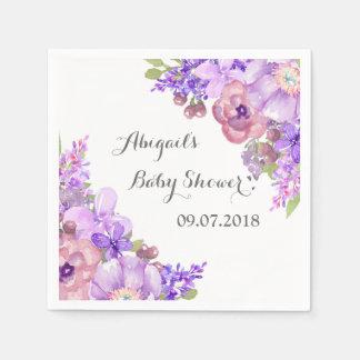 Rustic Lavender Purple Floral Baby Shower Napkins Paper Napkins