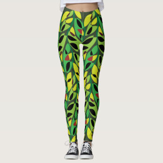 Rustic Leaf Vine Pattern Leggings