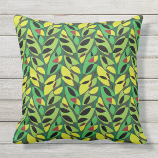 Rustic Leaf Vine Pattern Outdoor Pillow