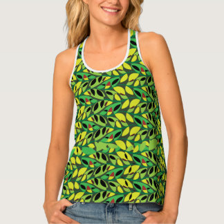 Rustic Leaf Vine Pattern Tank Top