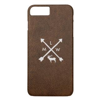 Rustic Leather Look Monogram iPhone 7+ Case