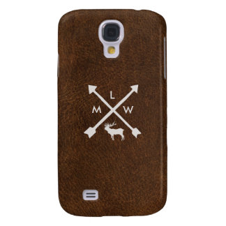 Rustic Leather Monogram Samsung Galaxy S4 Case