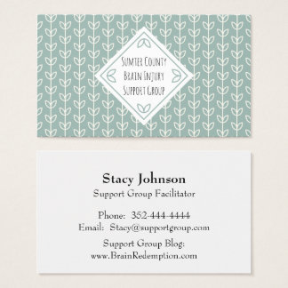 Rustic Leaves Blue-Green Networking Card