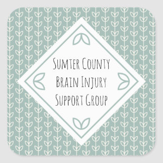 Rustic Leaves on Blue-Green Support Group Square Sticker
