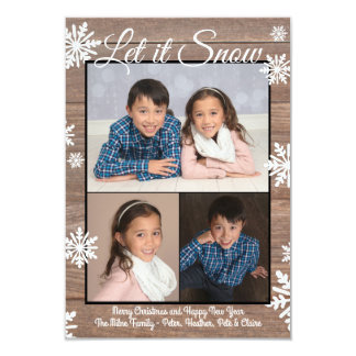 Rustic Let it Snow - 3x5 Christmas Photo Flat Card