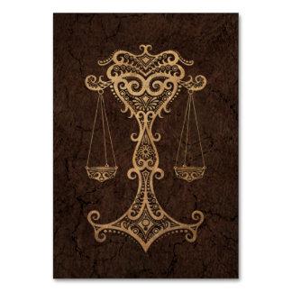 Rustic Libra Zodiac Sign on Stone Effect Card